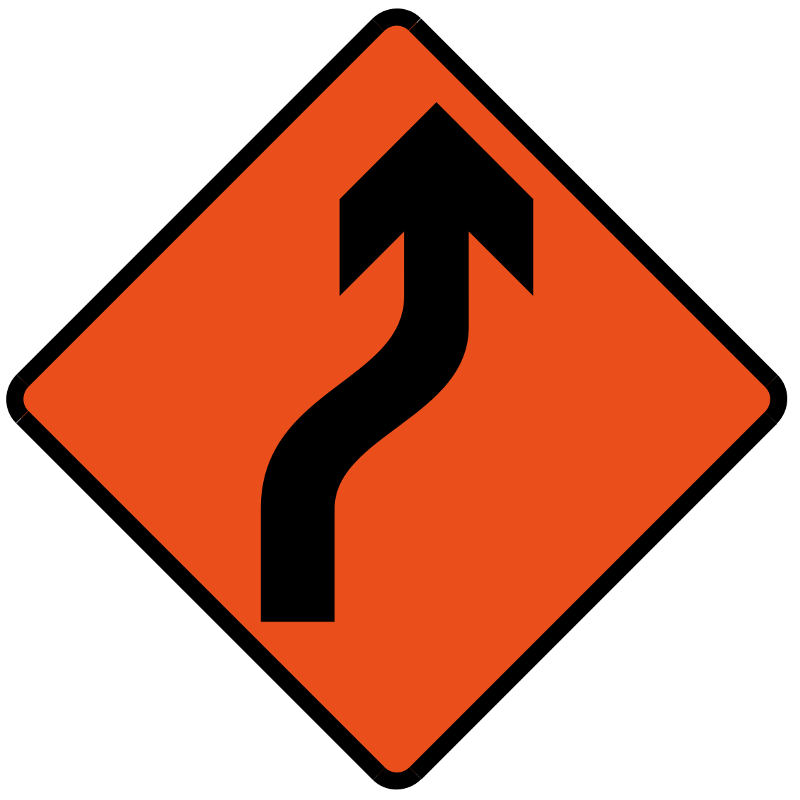 Bend to right (Left if symbol is reversed)