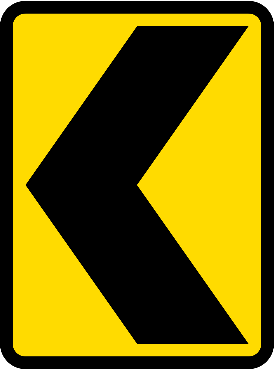 Curve alignment marker (Bend to left; right if chevron is reversed)