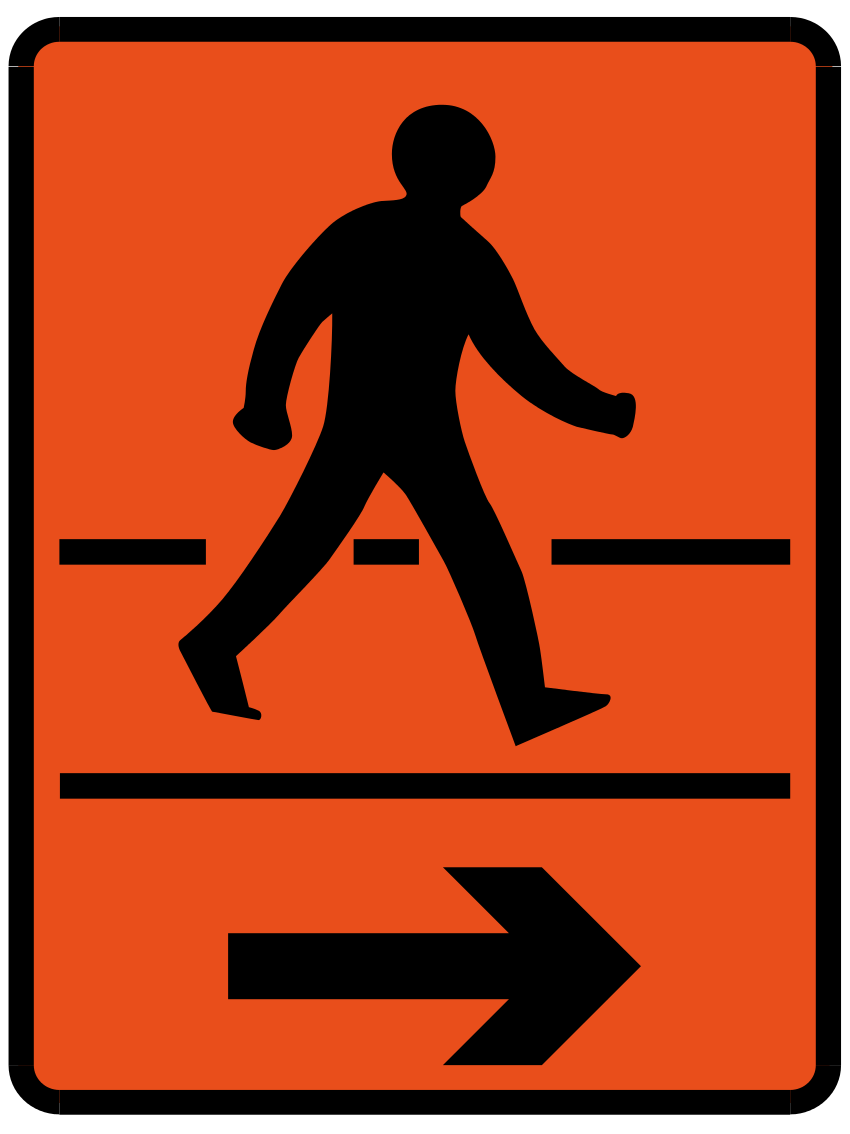 Detour for pedestrians in direction indicated (Right)