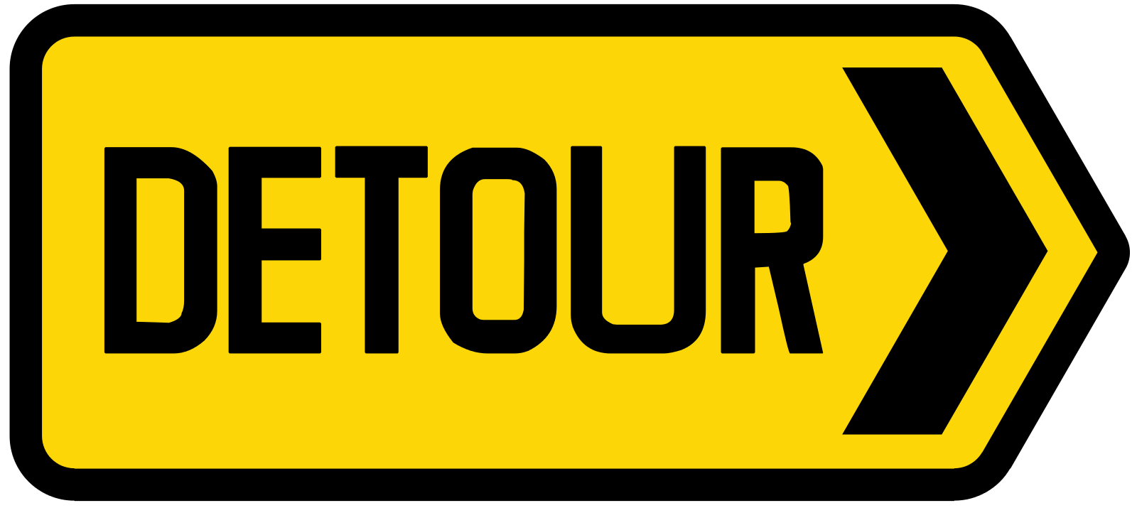 Detour in direction indicated at junction (Right)
