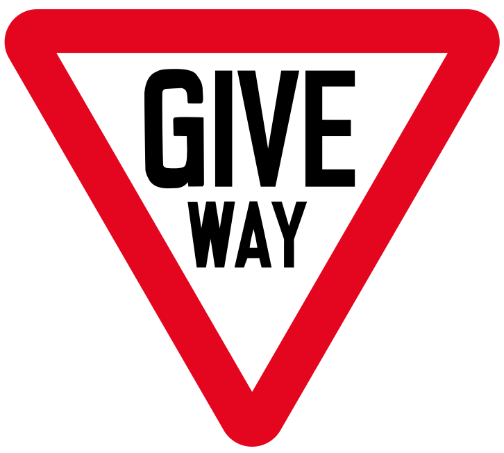 Give way to traffic on a major road