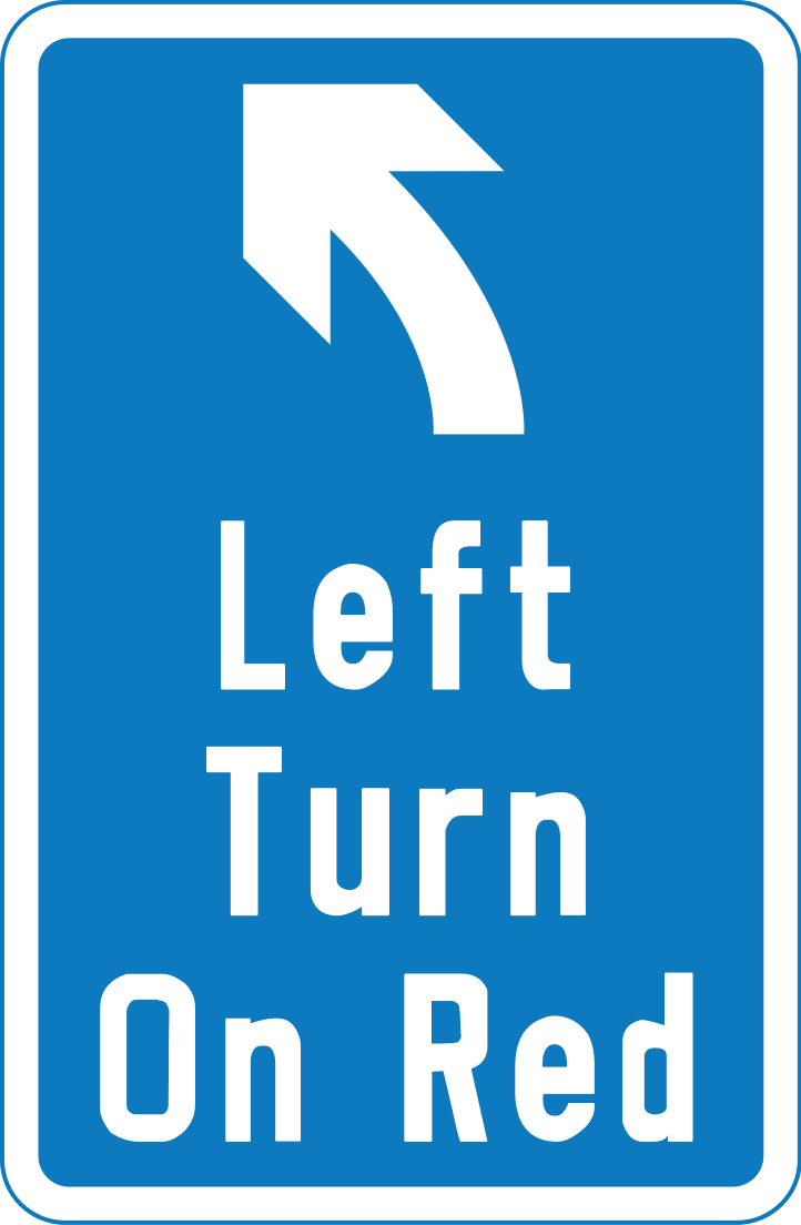 Left turn at controlled junction on red light permitted for motorists, as long as the motorist gives way to traffic on the major road and pedestrians crossing the road