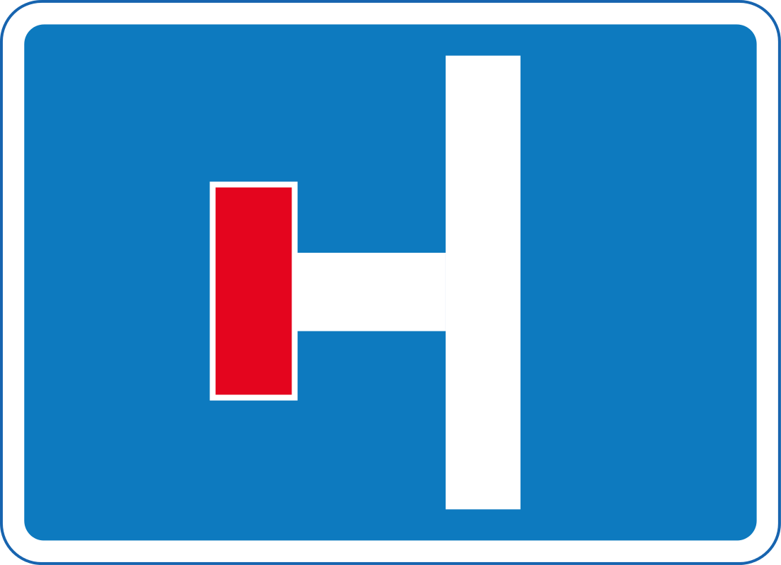 No through road on the first fork on the left (right if symbol is reversed)