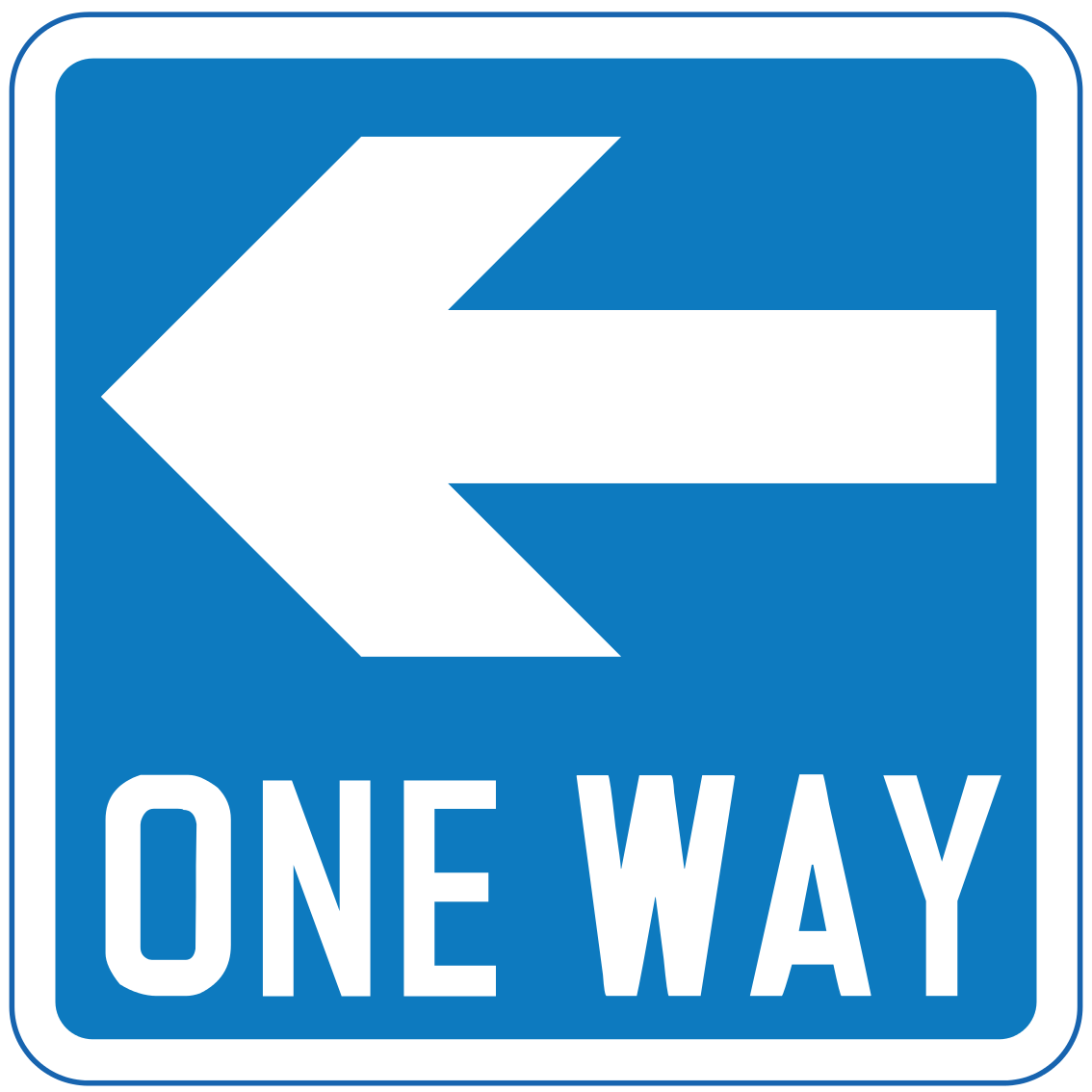 One-way traffic in direction indicated (left)