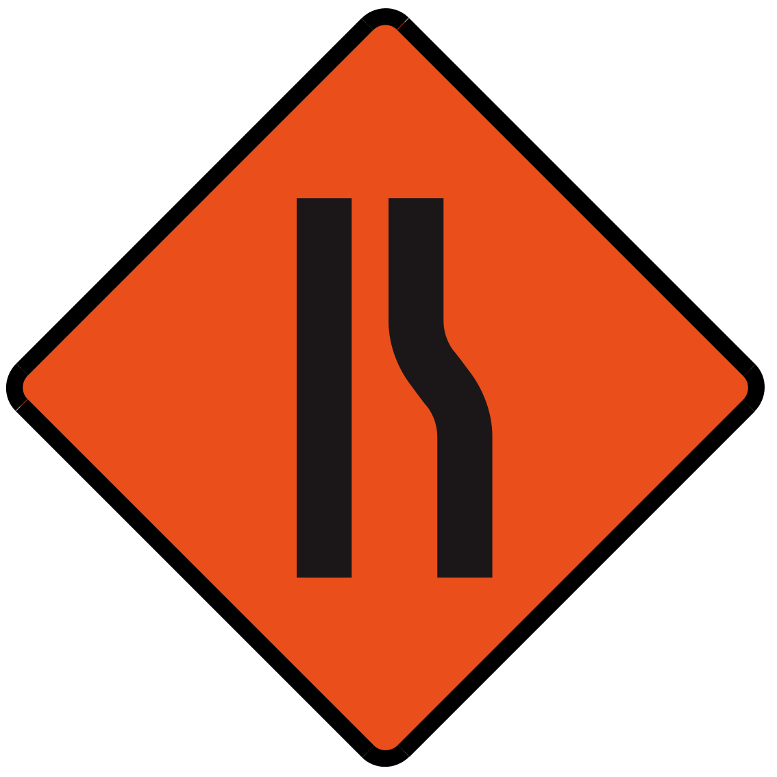 Road narrows on right ahead