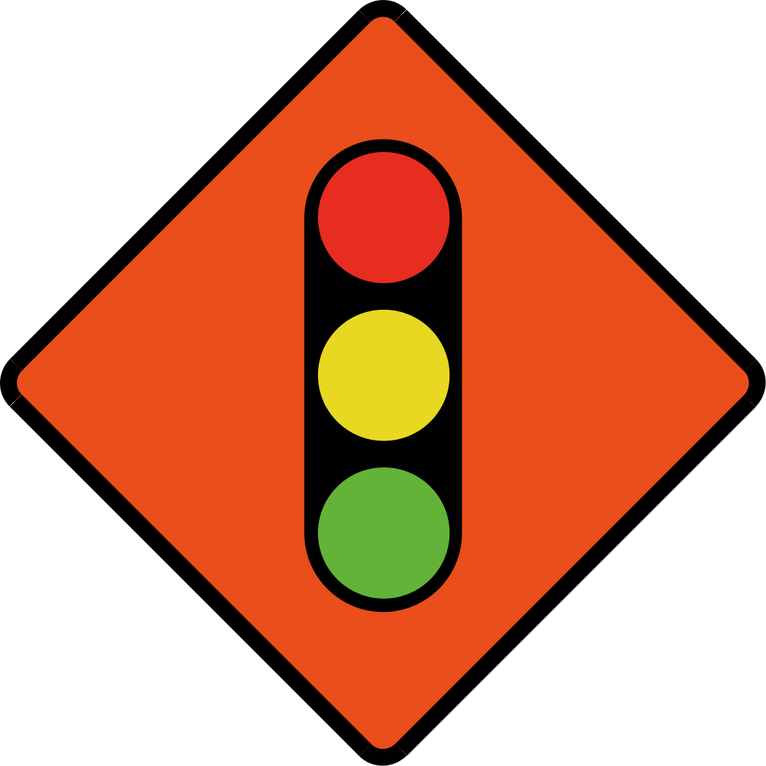 Traffic lights in use ahead